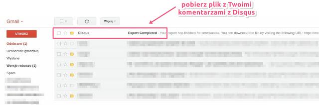 Wyeksportowane komentarze Disqus są w pliku xml (możesz to traktować również jako backup)