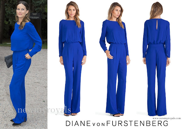 Princess Sofia wore a cosmic-cobalt coloured Cynthia jumpsuit by Diana Von Furstenberg (DVF), Stinaa.j, Balenciaga, Georg Jensen earrings