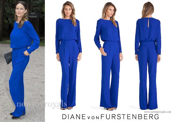 Princess Sofia wore a cosmic-cobalt coloured Cynthia jumpsuit by Diana Von Furstenberg (DVF), Stinaa.j, Balenciaga, Georg Jensen earrings