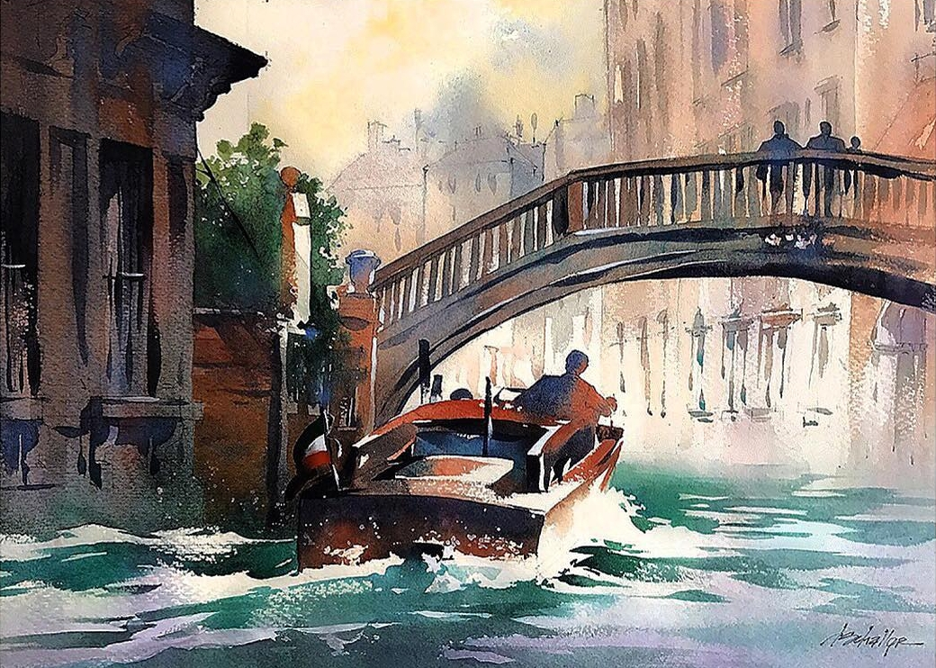11-Running-Errands-Venice-Italy-Thomas-Schaller-Watercolor-Paintings-Indoors-and-Outdoors-www-designstack-co