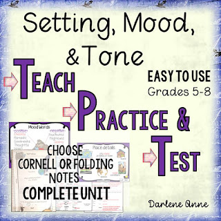 "Have tone and mood been stumbling blocks for your middle grade students? One of the most frequent questions I get from teachers is about how to teach tone. Now, I no longer have to reply, ""I'll be darned if I know!"" ;) This resource contains all of the tricks I've always used, plus some additional goodies!"