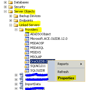 MSSQL-DBA: Cannot create an instance of OLE DB db provider