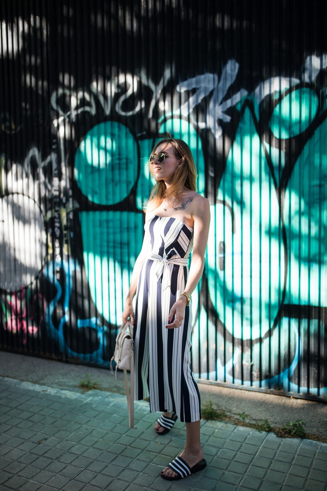 striped culotte jumpsuit outfit