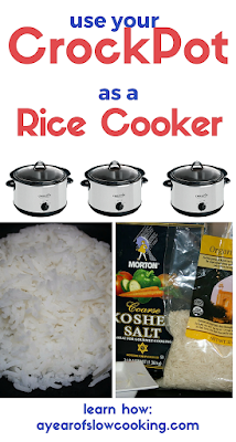 I had no idea I could do this! What a great way to make a whole bunch of rice at one time if you don't have a rice cooker or don't want to use it. Recipe is for a 1.5. quart, 4, or 6 quart crockpot slow cooker.