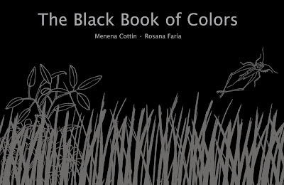 This book is black pages with shiny black drawings with white text and braille text