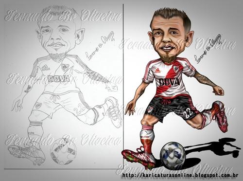 Esboço e arte final Caricatura do Jogador D'Alessandro jogando pelo River Plate em 2016
