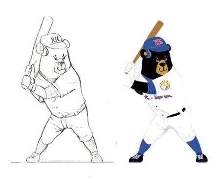 高雄大學棒球熊與籃球熊FRP大公仔上場了!(左)初稿→(右)定案圖稿,「唯偶獨尊」以細膩手法充分刻畫出「動態感」。