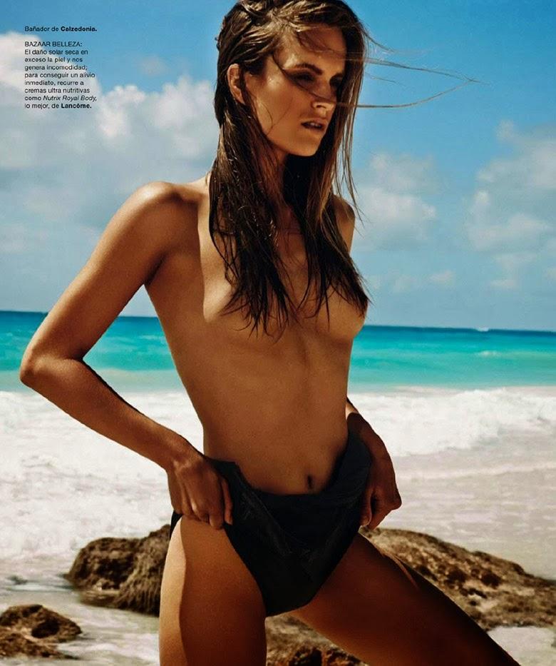 Dutch model Mirte Maas in beachwear editorial in Harper's Bazaar Spain