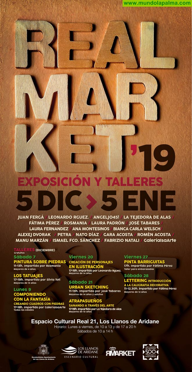 Una veintena de artistas expondrán sus obras en el Real Market de Los Llanos de Aridane