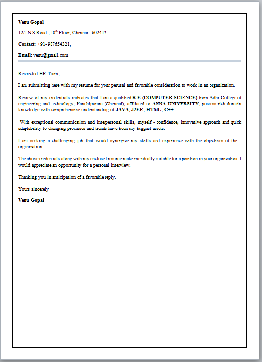 letter of character cover letter format for freshers 46250