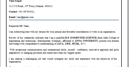 Job Application Letter Format For Freshers