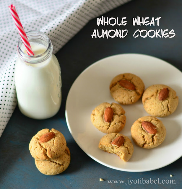 Eggless Whole Wheat Almond Cookie Recipe