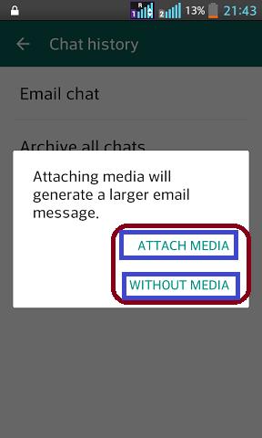Whatsapp par apni chat ko email ke jariye kisi dusre ko kaise send kare