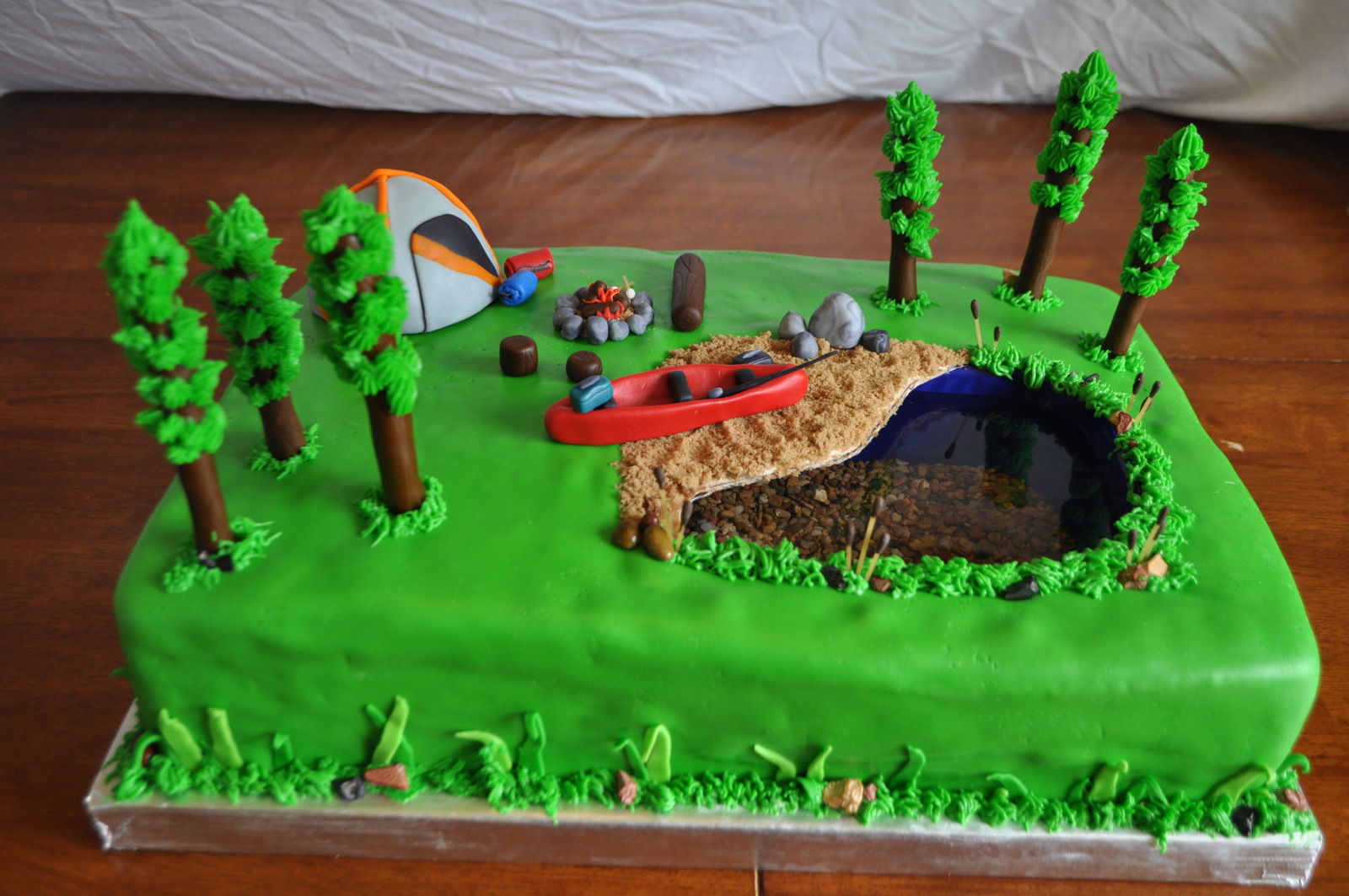 Peach Of Cake Camping Birthday Cake