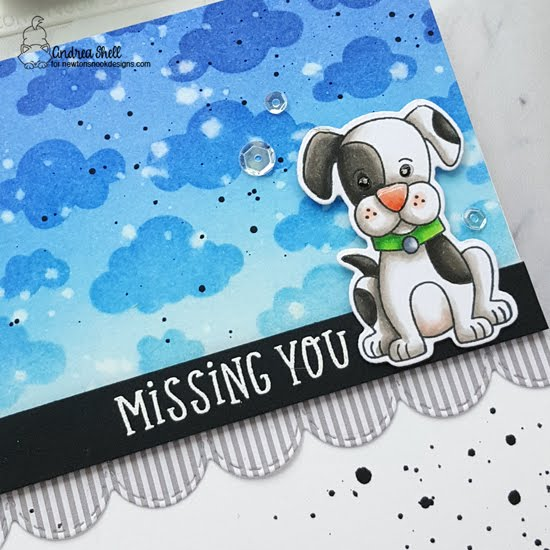 Missing You and I'm Sorry Puppy Cards by Andrea Shell | Puppy Playtime Stamp Set, Heartfelt Essentials Stamp Set, Cloudy Sky Stencil and Sky Borders Die Set by Newton's Nook Designs #newtonsnook #handmade