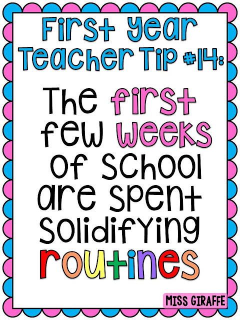 First year teacher tips for the first week of school - classroom routines and procedures are so important! Make sure you check out the list of them!