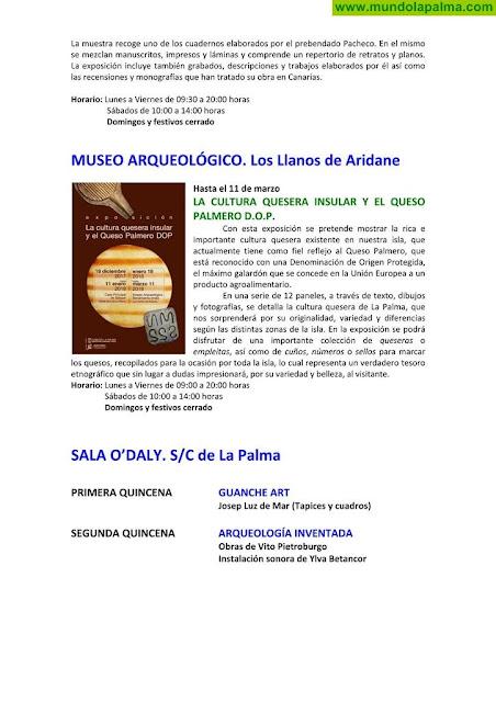 Agenda cultural del Cabildo de La Palma febrero 2018