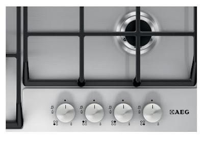 Plita incorporabila, AEG Gas HG654550SM, 4 arzatoare gaz, Arzator rapid, Gratare fonta, 60 cm, Panel comanda negru, Inox