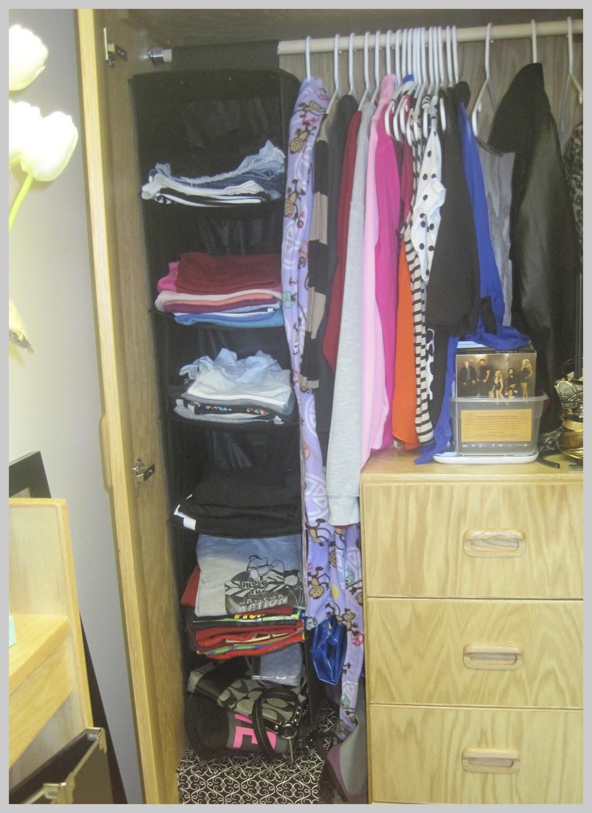 Dorm Room Closet: Fashionably College: Dorm Room Organization