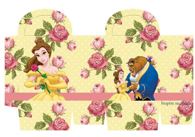 Cajas de La Bella y la Bestia con Rosas  para imprimir gratis.