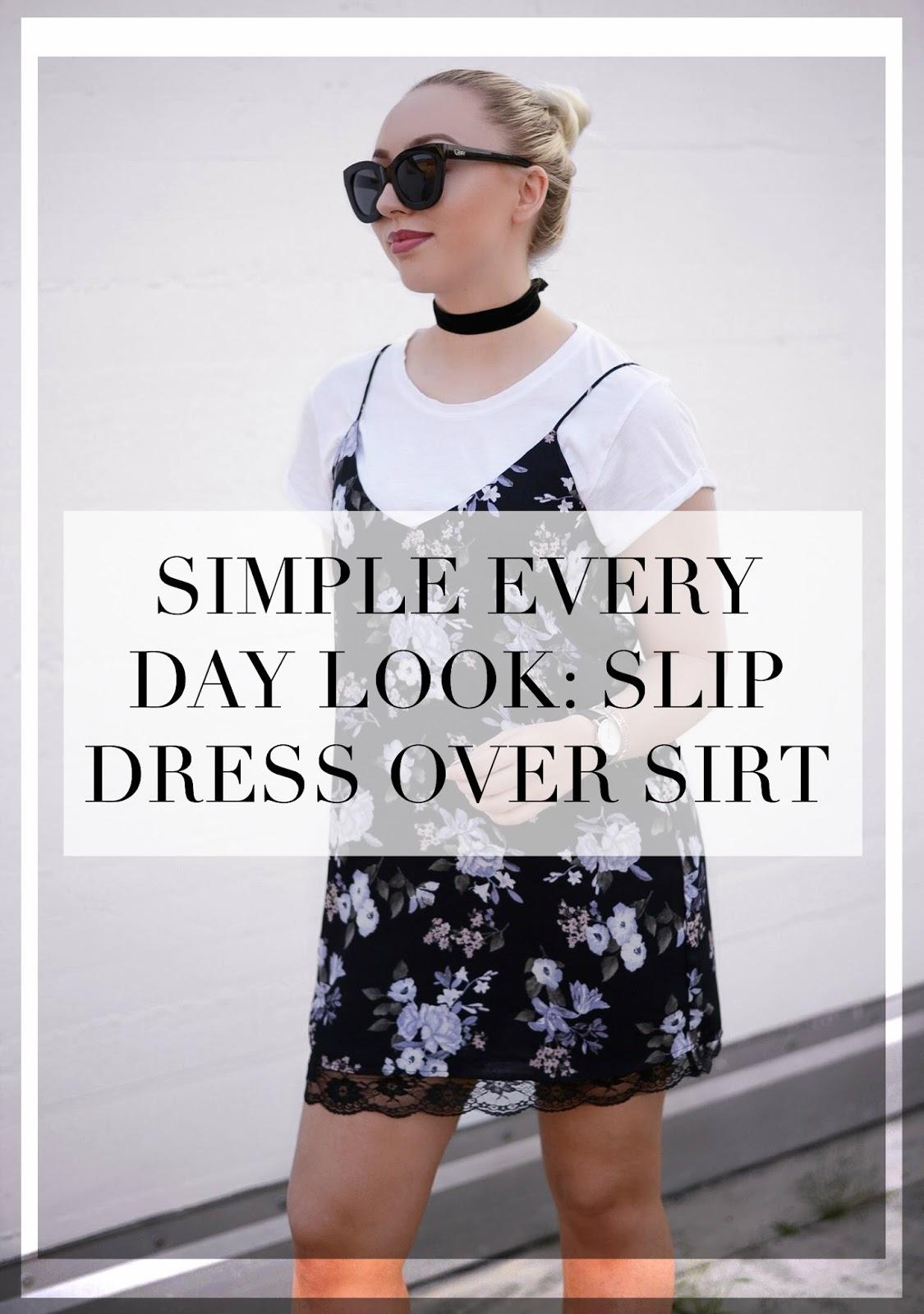 simple everyday look slip dress over shirt