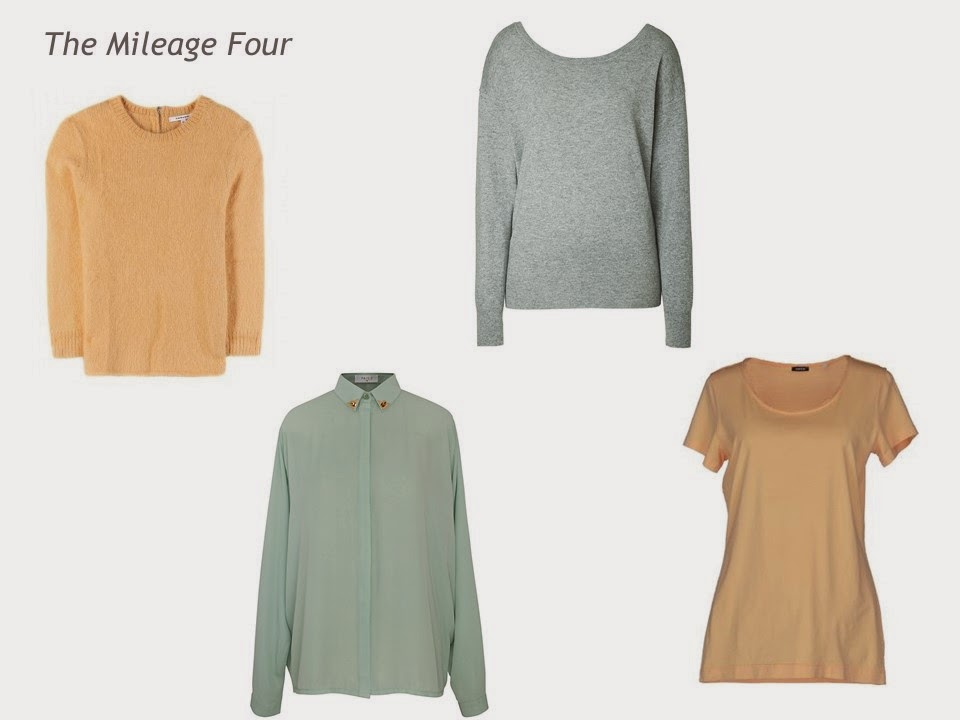The Mileage Four in Apricot and Celadon: sweater, blouse, tee shirt and sweater