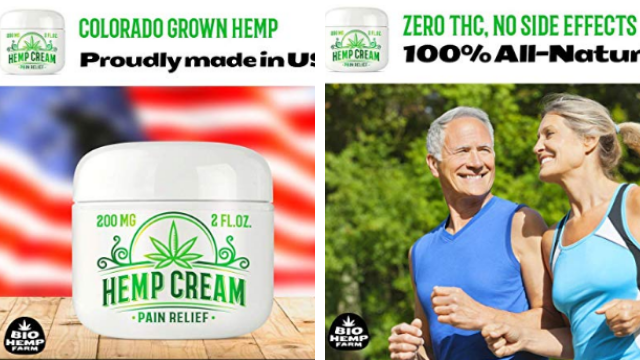 Hemp cream for pain relief with 200 milligram natural hemp oil extract