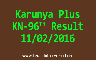Karunya Plus KN 96 Lottery Result 11-02-2016