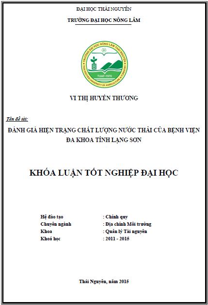 Đánh giá hiện trạng chất lượng nước thải bệnh viện đa khoa tỉnh Lạng Sơn