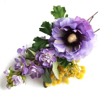 アネモネとミモザの髪飾り_ウェディングブーケと花髪飾りairaka