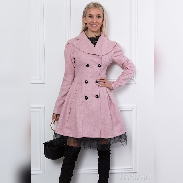 Γυναικείο ανοιχτό ροζ παλτό KARI PEACH