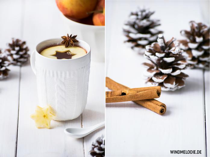 Apfel Zimt Punsch Rezept weiße Tasse mit Strickmuster