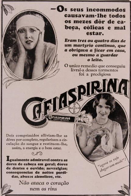 Campanha da Cafiaspirina no final dos anos 20 com promessa de fim das mais diversas dores