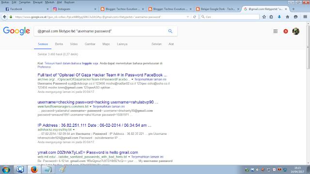 cara mecari username dan password dengan google