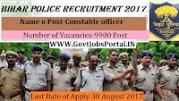 Central Selection Board of Constable Bihar Police Recruitment 2017– 9900 Constable
