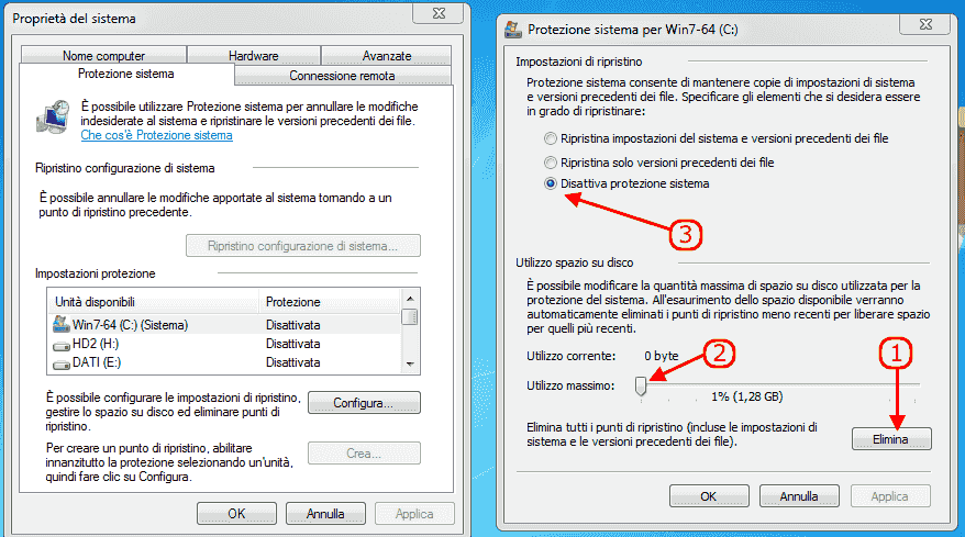 Windows 7 - Disabilita protezione sistema