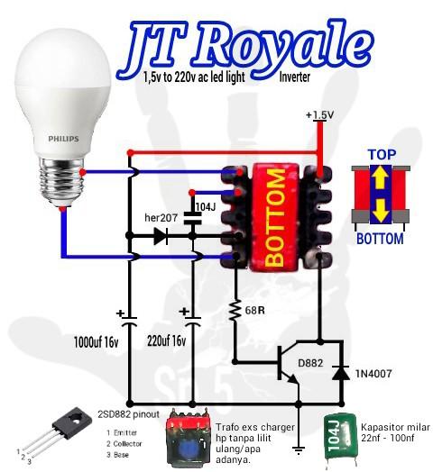 Elektro Circuit: Joule Thief Royale 1 5v to 220v ac led