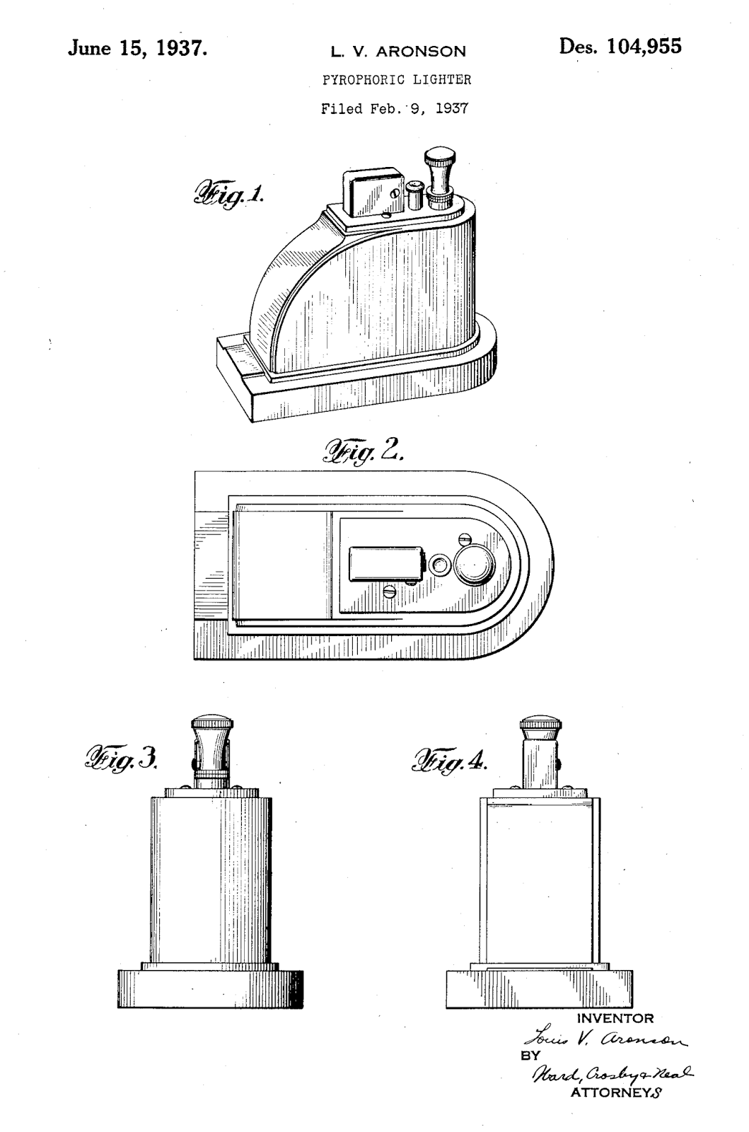 Table lighters collectors' guide: Patent: Ronson