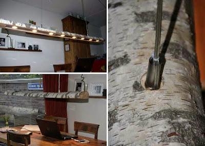 Lampara de oficina hecha con un tronco largo