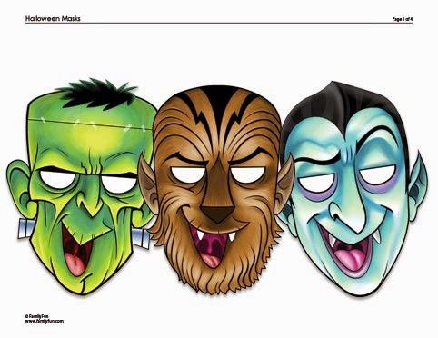 Mascaras De Frankenstein Hombre Lobo Y Dracula Para Imprimir