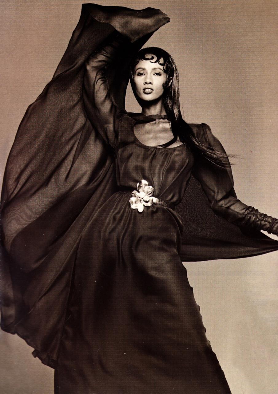 Iman wearing Yves Saint Laurent in Vogue Paris September 1988 via www.fashionedbylove.co.uk
