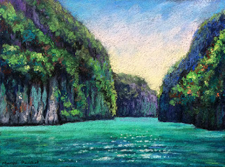 Soft pastel painting of a scene from Phi Phi Leh, Thailand- By Manju Panchal