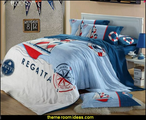 Sailing Boat regatta Bedding Sets nautical bedroom ideas - decorating nautical style bedrooms - nautical decor - sailing ship theme - coastal seaside beach theme - boat beds - beach house decorating - Travelers and seafarers - nautical bedding - nautical bedroom furniture