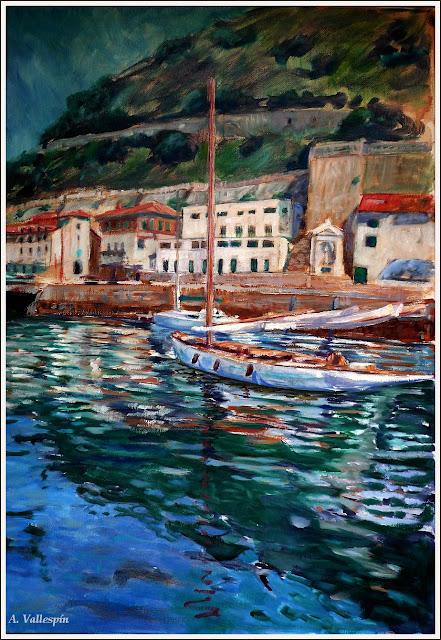 Pintura al óleo de un velero clásico en el puerto de San Sebastián