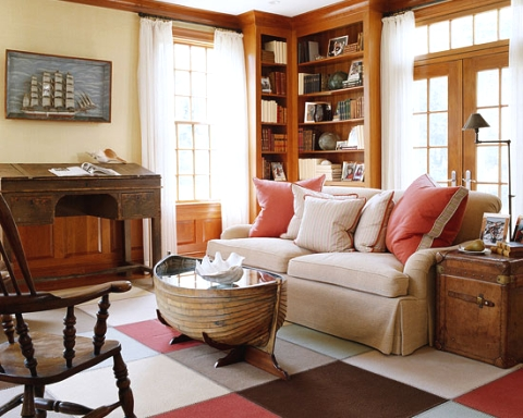 nautical living room idea with boat coffee table