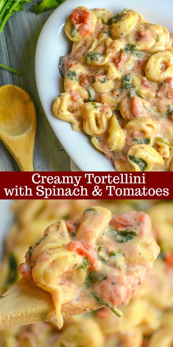 CREAMY TORTELLINI WITH SPINACH & TOMATOES #creamy #tortellini #spinach #tomatoes #vegetarianrecipes #veggies #veganrecipes