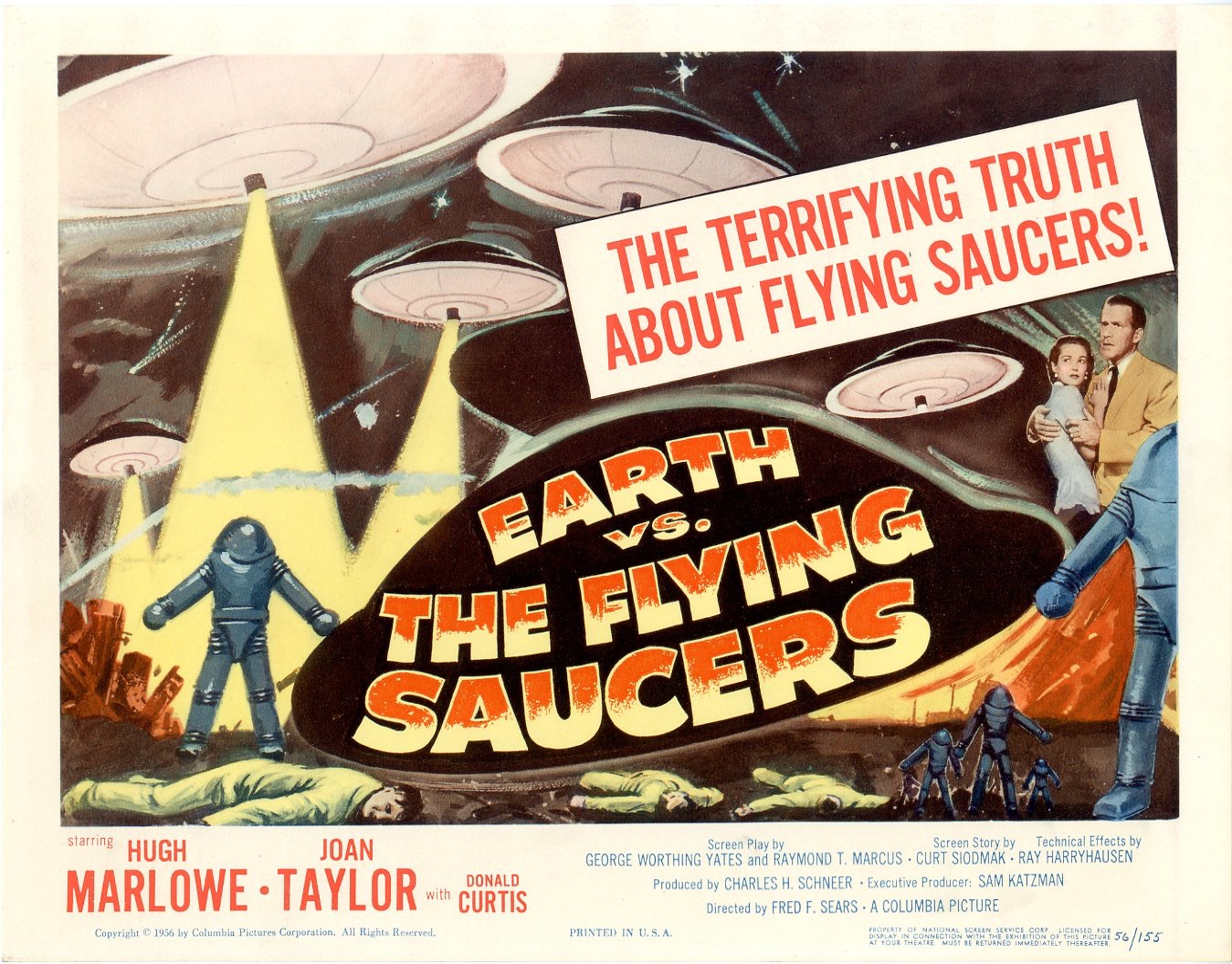 Earth vs the flying saucers a k a invasion of the flying saucers and flying saucers from outer space is a 1956 american black and white science fiction