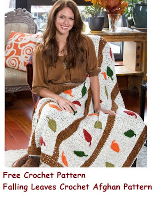 Free Crochet Fall Afghan Pattern Falling Leaves Throw to Crochet