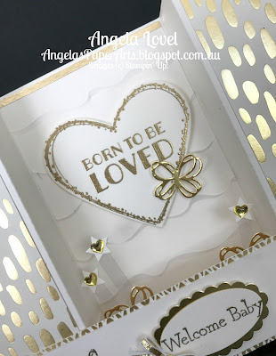 Stampin' Up! Born to be loved card closeup by Angela Lovel, Angela's PaperArts