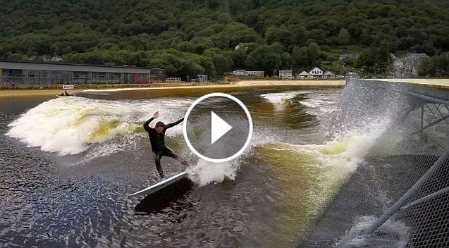GoPro Nick Woodman and Kalani Robb Surf Snowdonia